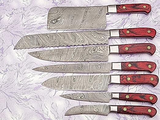 Amazon.com: Juego de cuchillos de cocina de acero Damasco ...