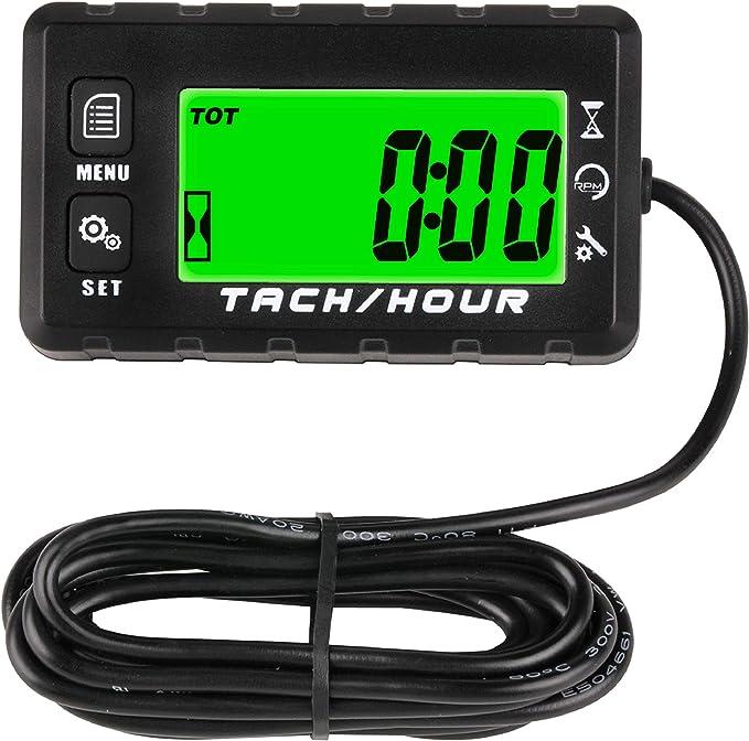 Jayron JR-HM058 Tacómetro de Contador de Horas Digital,2 Opciones de Sistema,Recordatorio de Mantenimiento de Cuenta Atrás,Ajuste de luz de Fondo,para Motocicletas,Cortadoras de Césped