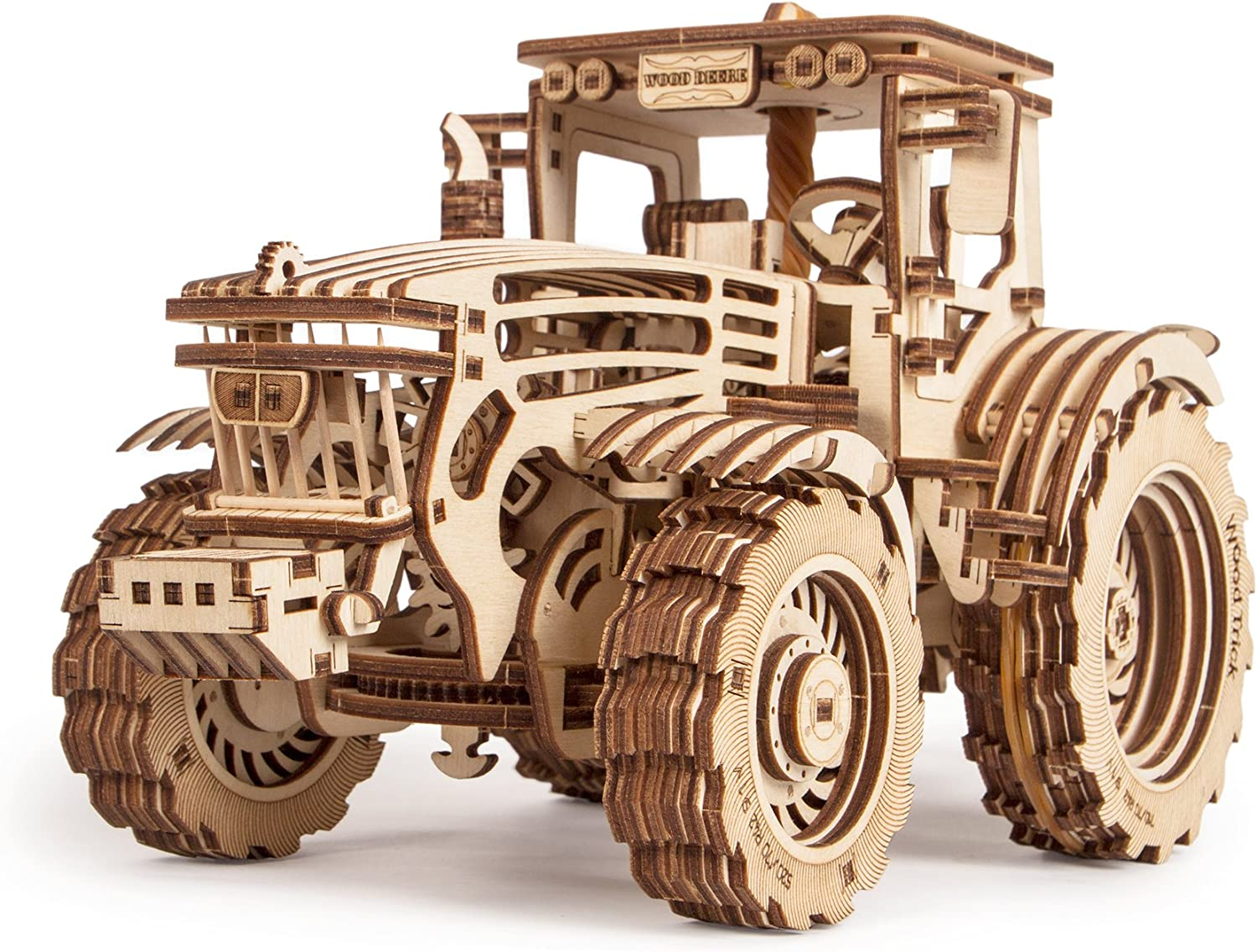Wood Trick Wooden Toy Tractor Friction Powered 2 Speeds, 3D Tractor Puzzle Wood Model Mechanical Model 3D Wooden Puzzle, Assembly Toys, ECO Best
