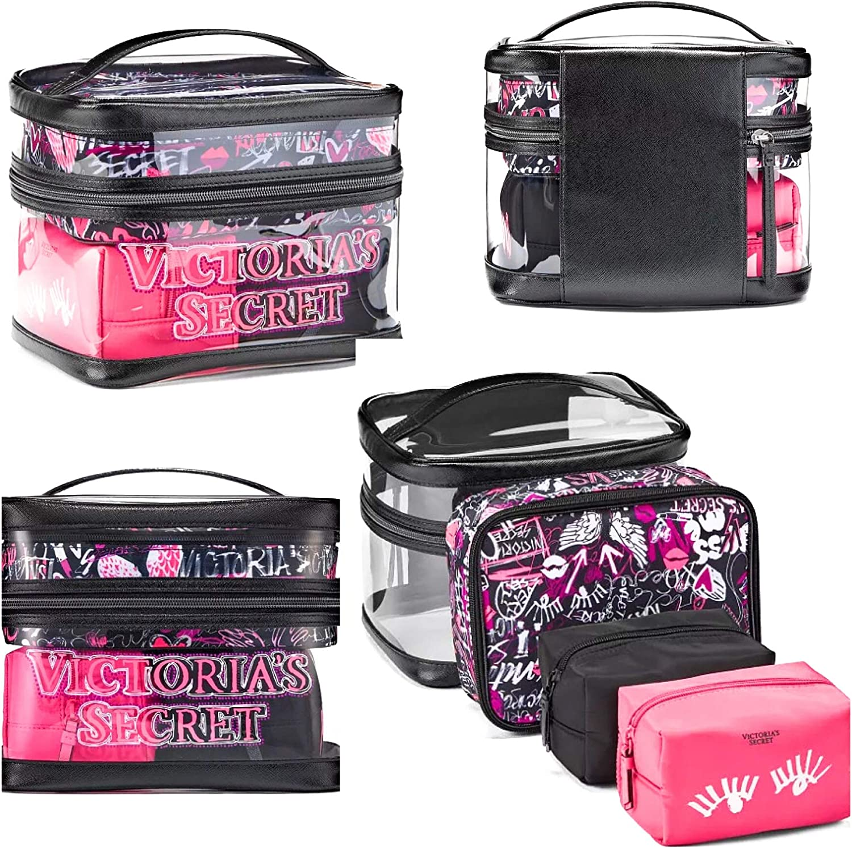 Victorias Secret Train Case Bolsa de viaje de graffiti transparente, juego de 4 piezas: Amazon.es: Belleza