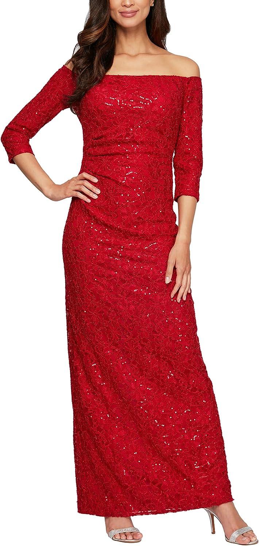 Alex Evenings Womens Long /¾ Sleeve Off The Shoulder Dress