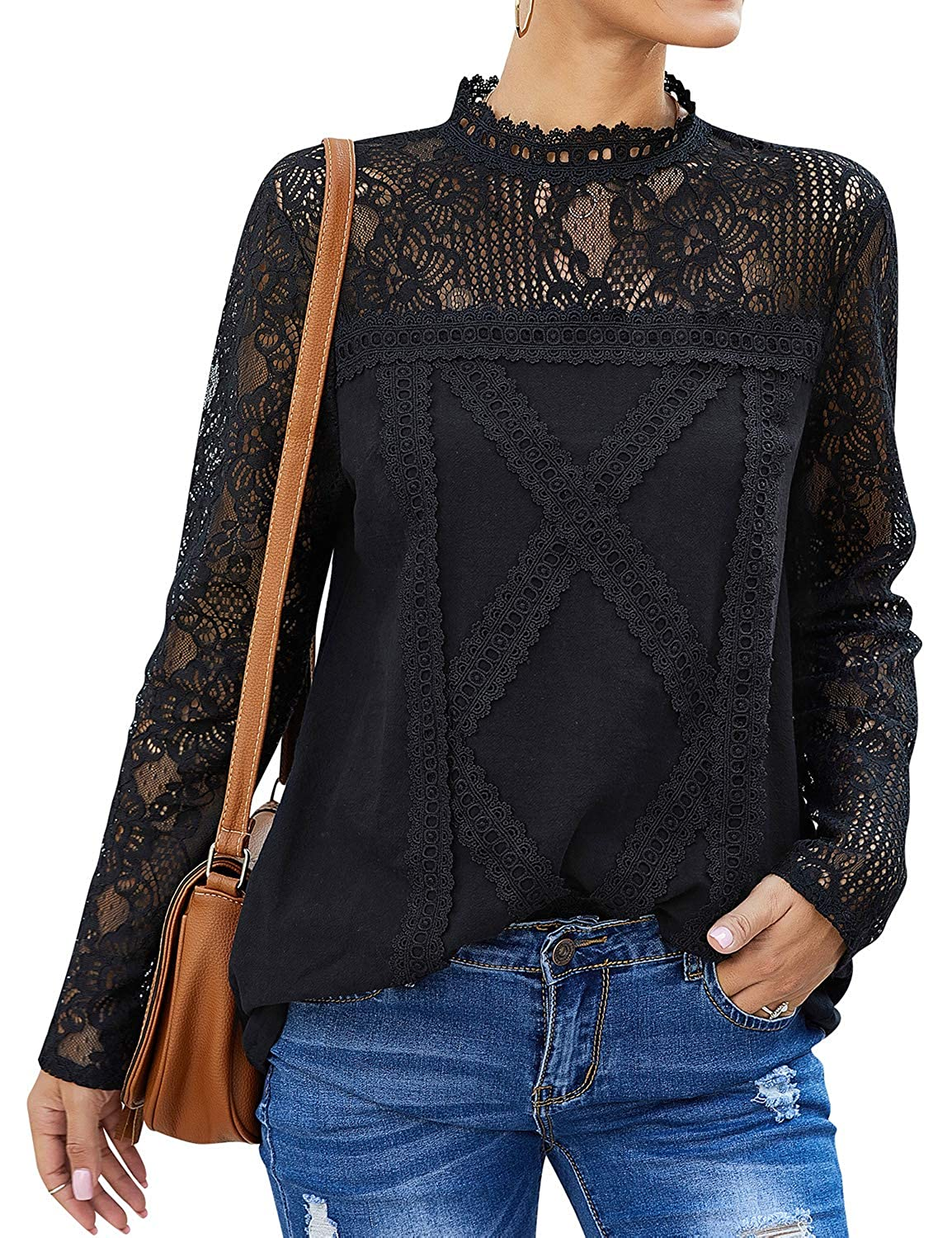 Steampunk Tops | Blouses, Shirts ZXZY Women Cute Lace Blouse Top Short Sleeve Lace Hollow Out Turtle Neck T Shirt $18.99 AT vintagedancer.com