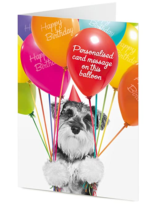 PERSONALISED miniature Schnauzer dog with colourful balloons – Birthday Card Gift