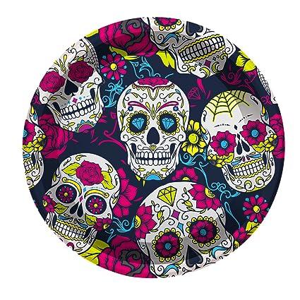 Platos De Plástico Con Decorado De Calavera Mexicana 23 Cm 4 Unidades