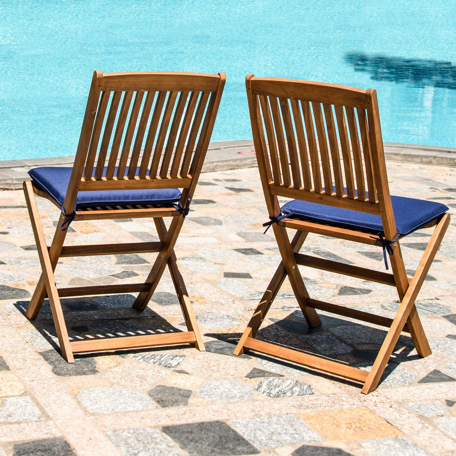 Acacia Wood Indoor Outdoor Patio Foldable Dining Chairs Navy Blue Cushions Patio, Garden, Yard Natural Finish 2 Piece