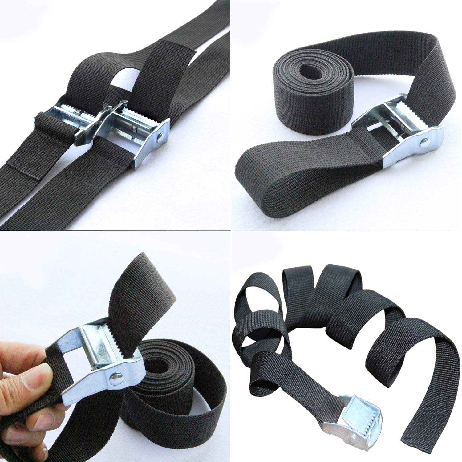 IronBuddy 10 x 1 Tie Down Straps Lashing Straps Black Nylon Heavy Dust Cargo Tie Down Straps with Zinc Alloy Lock Buckle Up to 600lbs 10ft Pack of 4