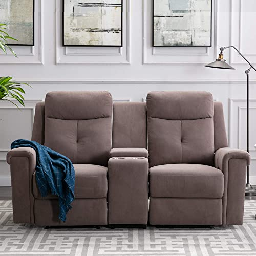 Recliner Loveseat Polyester Fabric Sofa Couch Manual Recliner Loveseat