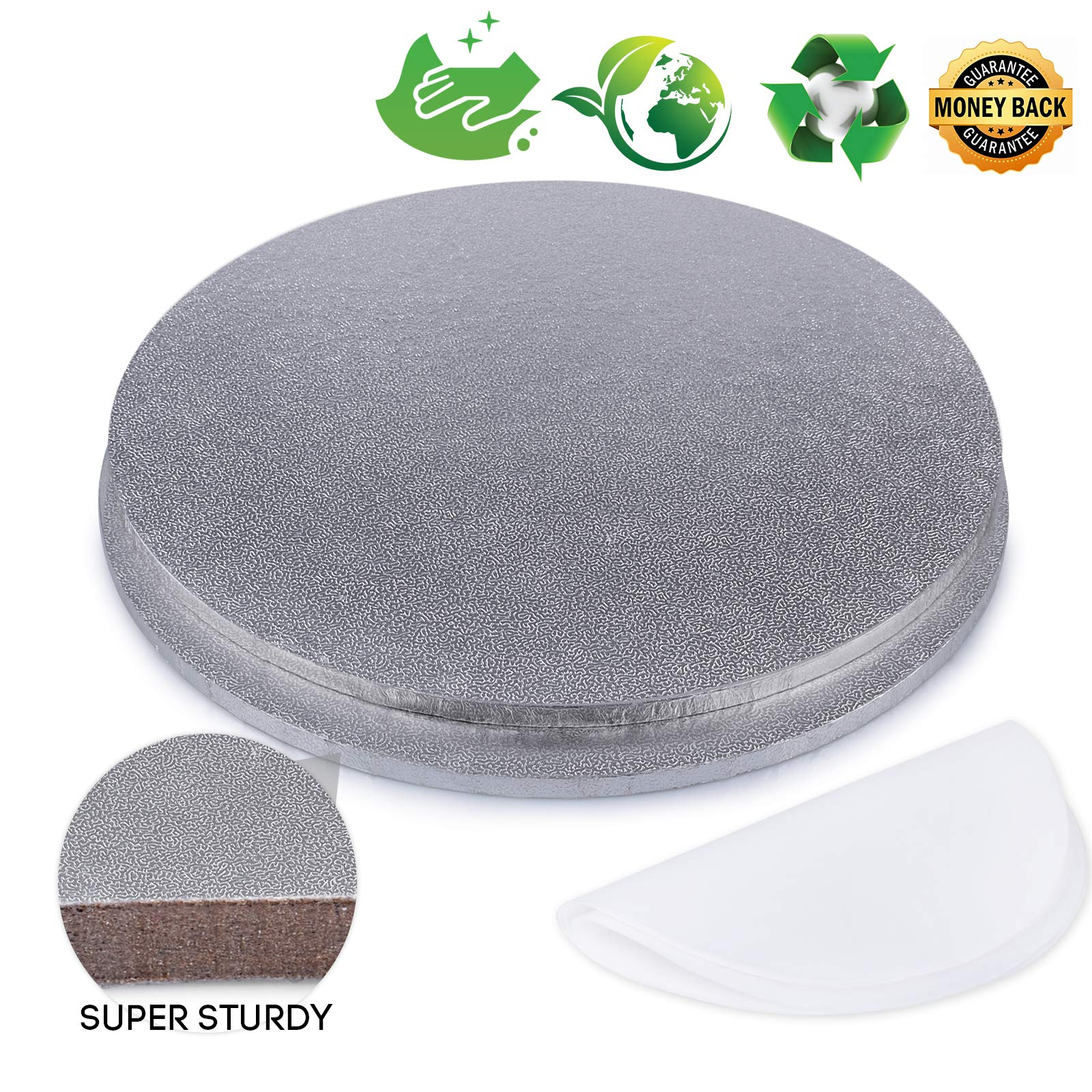Bonviee Cake Drum Sliver Round Cake Boards 12 Inch 5mm Thickness Cake Circle Base Cardboard Grease Proof for Presenting Decorated Cakes (2 Pack)