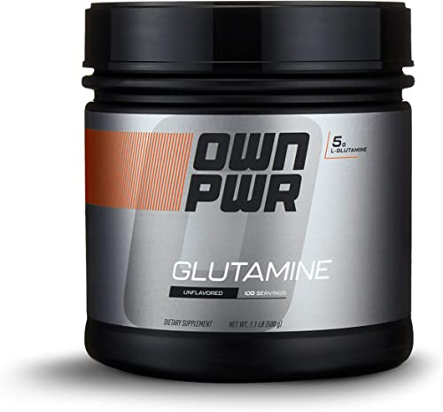 OWN PWR L-Glutamine Powder, Unflavored, 5 G, 1.1 Pound 100 Servings