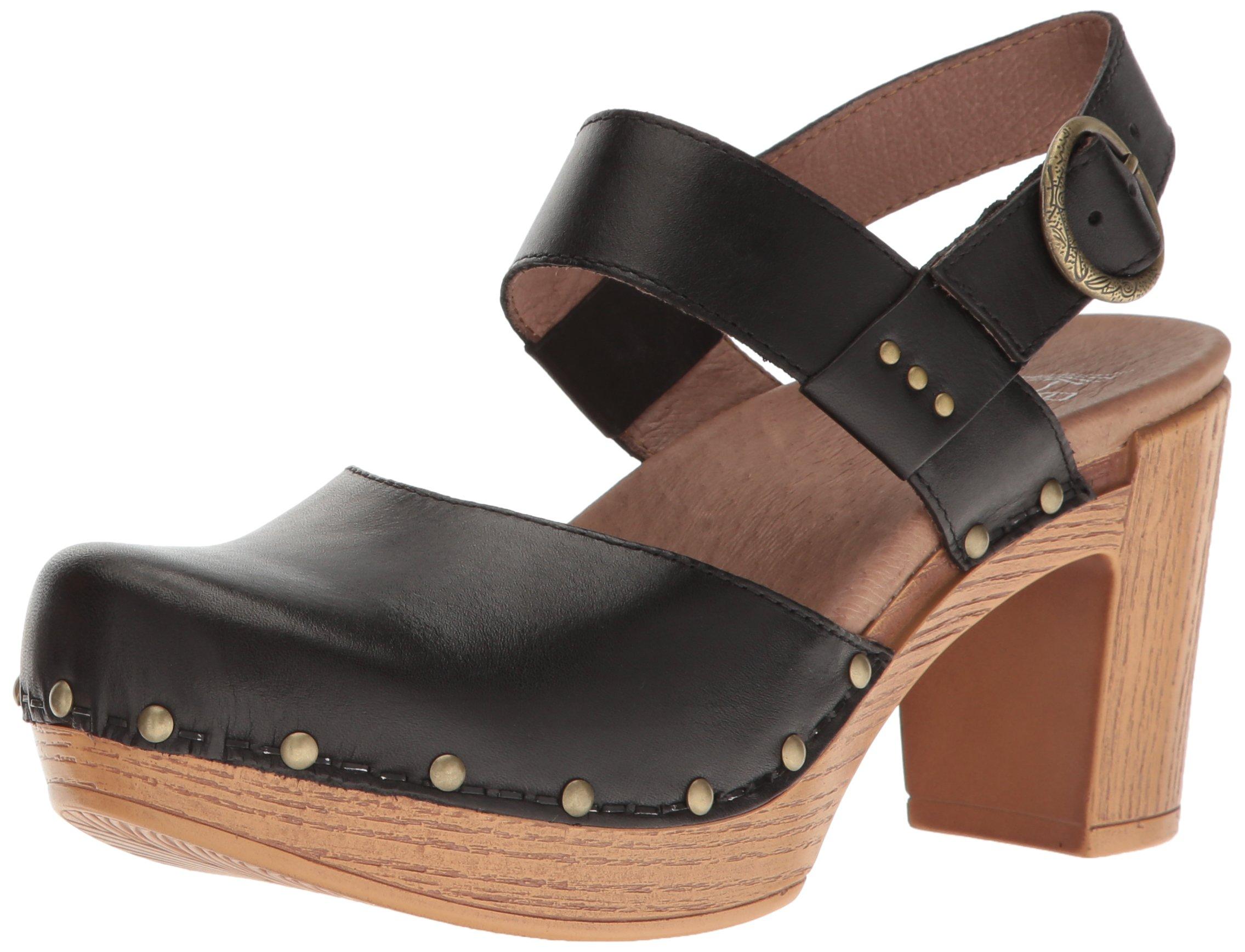 Dansko Women's Dotty Heeled Sandal, Black Full Grain, 38 EU/7.5-8 M US