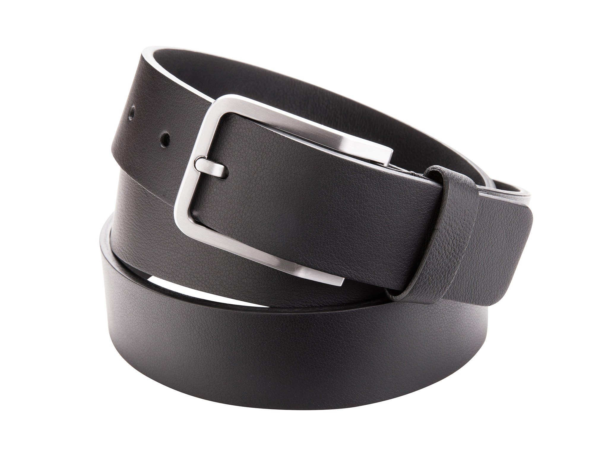 Leather belt with metal buckle for Men by Danny P. (Black)