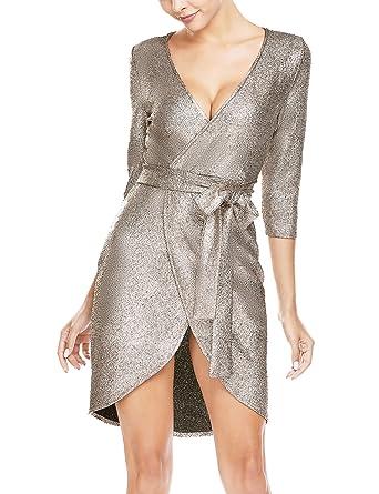 799fa00d ANGVNS Women's Sparkle Glitter Sequin 3/4 Sleeve Bodycon Mini Club Wear  Dress Silver S
