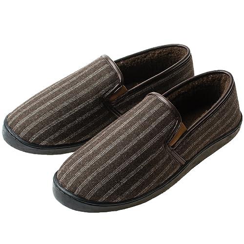 12ad97b65bc YQXCC Men s Slippers Comfort Memory Foam Plush Anti-Skid Indoor Outdoor  House Slippers (14