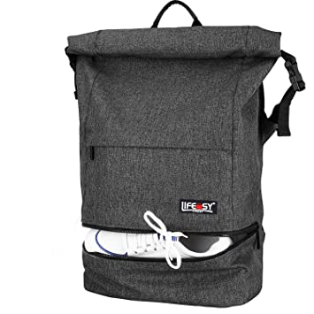 56d5638bb14f Lifeasy Anti-Theft Laptop Backpack 15.6in Waterproof Business Rucksack Roll  Top Casual Daypack Travel