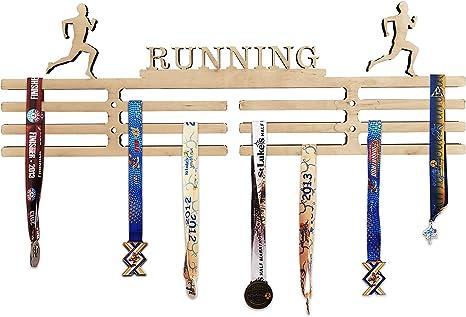 Arena Gifts - Colgador de medallas de madera para correr con ...