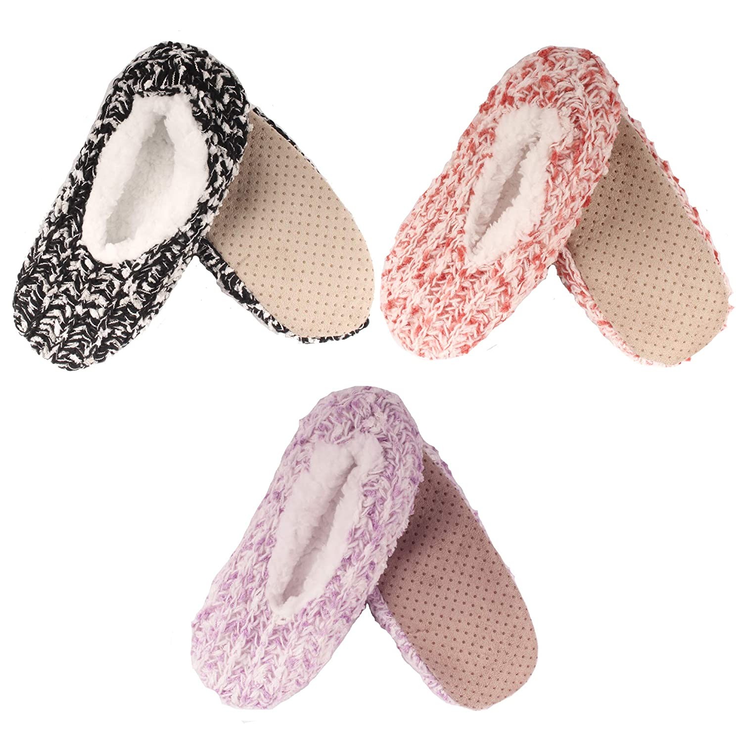 Assortment 3a BambooMN Women's Fuzzy Warm Comfort Cozy Fleece Lined Anti-Slip Slippers