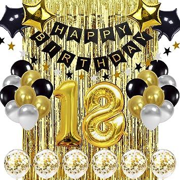 Schwarz Und Gold 18 Geburtstag Dekorationen Banner Ballon Alles Gute Zum Geburtstag Banner 18 Gold Nummer Ballons Nummer 18 Geburtstag Ballons 18 Jahre Alte Geburtstag Dekoration Zubehör Amazon De Spielzeug