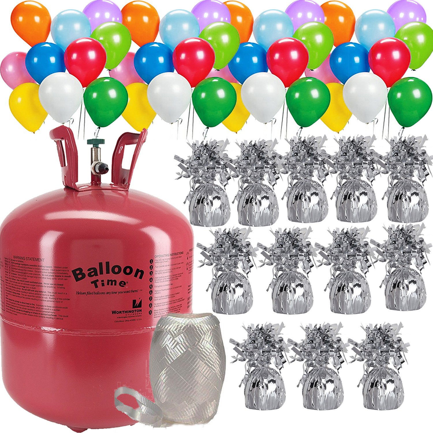Helium Tank + 50 Multi Color balloons + 12 Balloon Weights, 5.5'', 5.7 oz + White Curling Ribbon |14.9 Cubic Feet Helium, Enough for 50 9'' Balloons