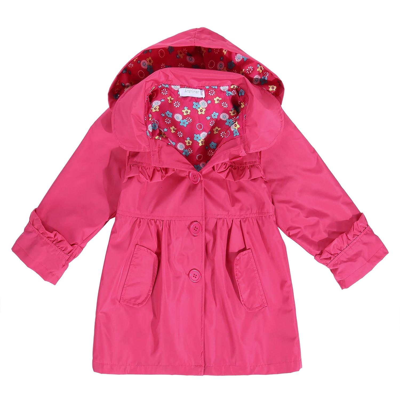 Arshiner Girls Kid Flower Waterproof Hooded Coat Jacket Outwear Raincoat Hoodies