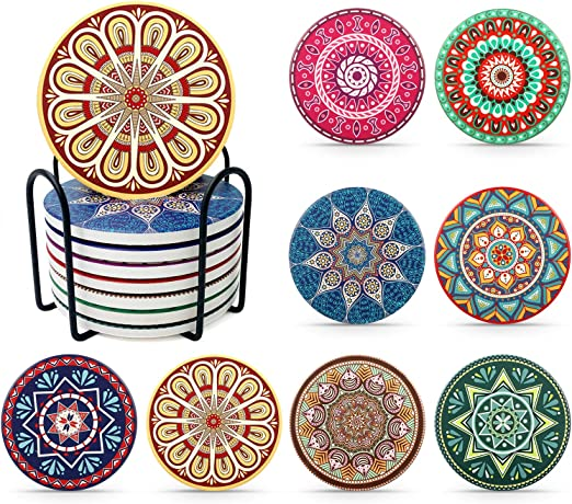 Set of 8 Coaster with Holder Funny Birthday Housewarming Gifts Unique Present for Friends Men Cork Base Apartment Kitchen Room Bar Decor Women Absorbing Stone Mandala Drink Coasters for Drinks