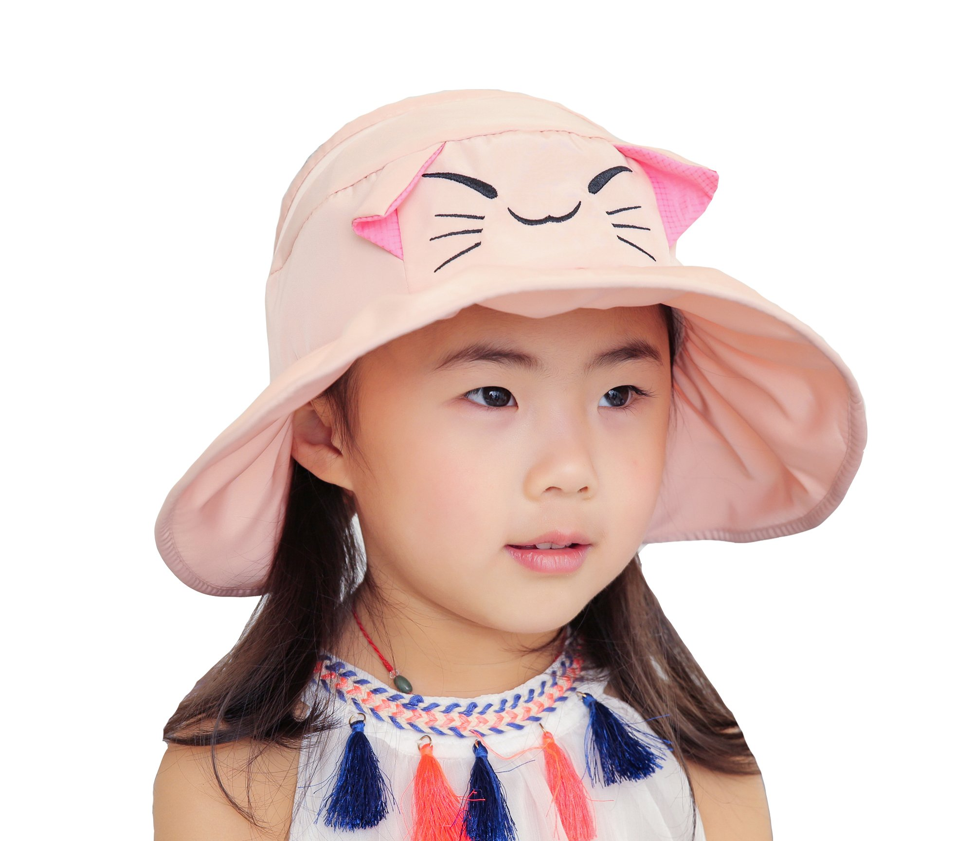 ACVIP Little Girl' Kitten Ear Wide Brim Summer Visor Cap Packable (Pink)