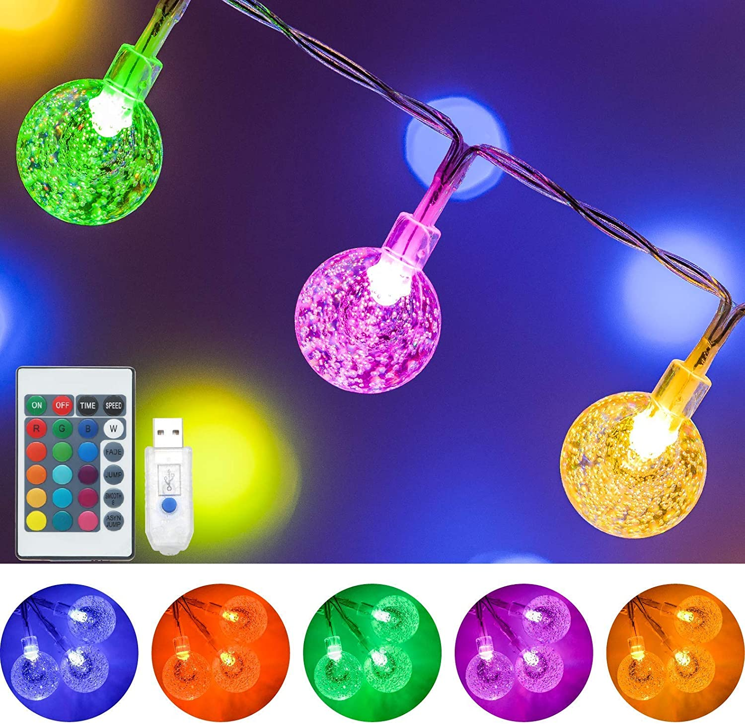 Color Changing Globe String Lights, 16.4Ft 50 LED USB Powered Crystal Ball Fairy String Lights with Remote Control for Teen Girls Bedroom Dorm Room Party Christmas Indoor Outdoor Decorations-16 Colors