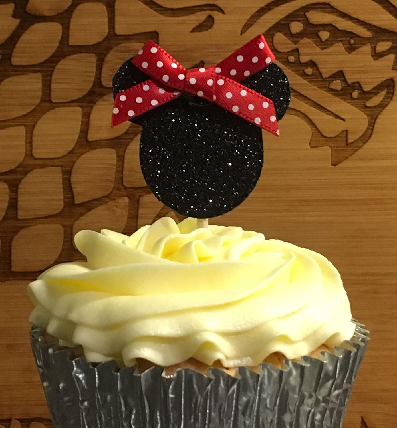 12 Minnie Mouse Cake Pick Topper with Bows for Cup Cakes (Not edible) Glitter Toppers
