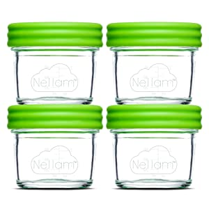 Nellam Baby Food Storage Containers - Leakproof, Airtight, Glass Jars for Freezing & Homemade Babyfood Prep - Reusable, BPA Free, 4 x 4oz Set, that is Microwave & Freezer Safe