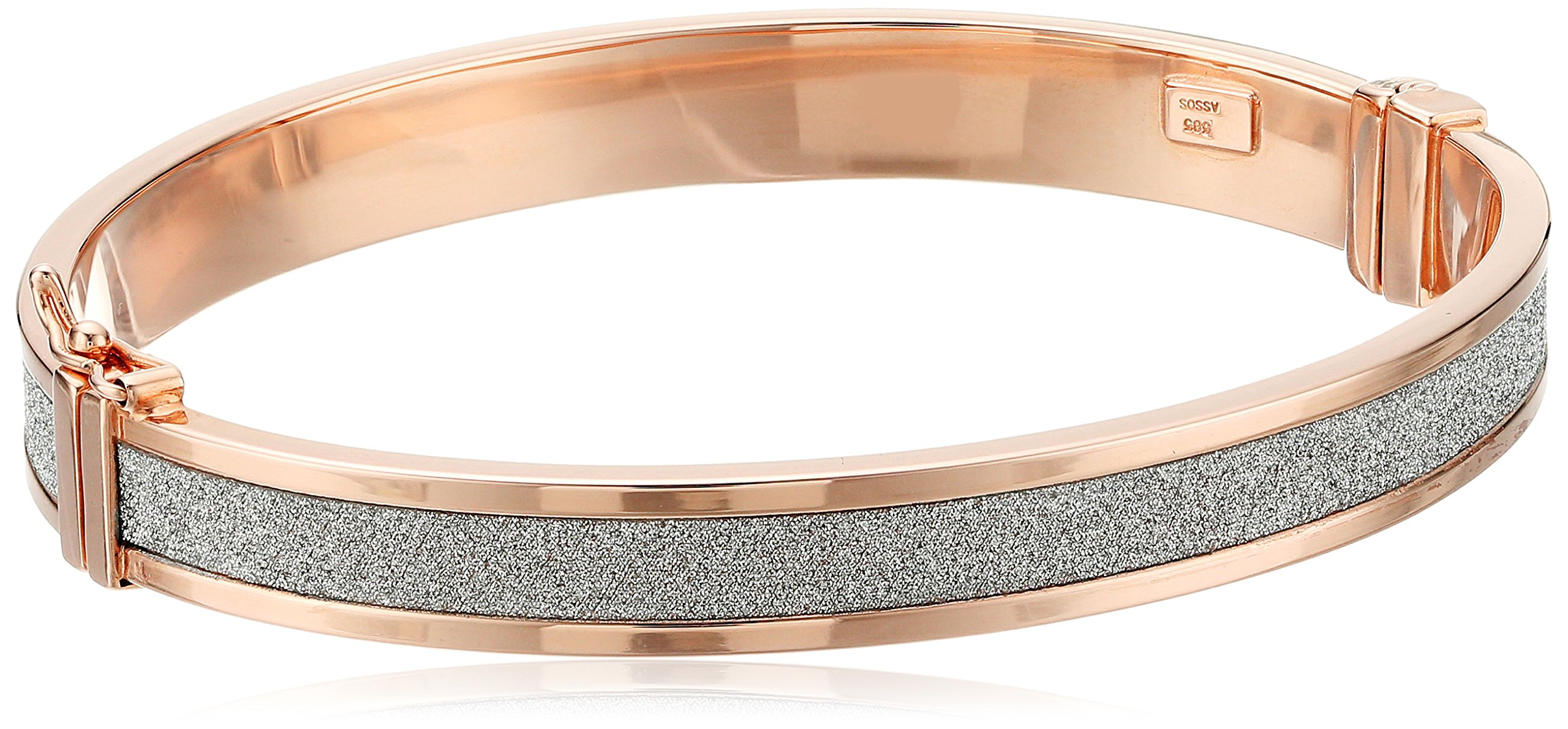 14k Rose Gold Italian 8 mm Tube Hinged with Pave Style Glitter Bangle Bracelet by Amazon Collection