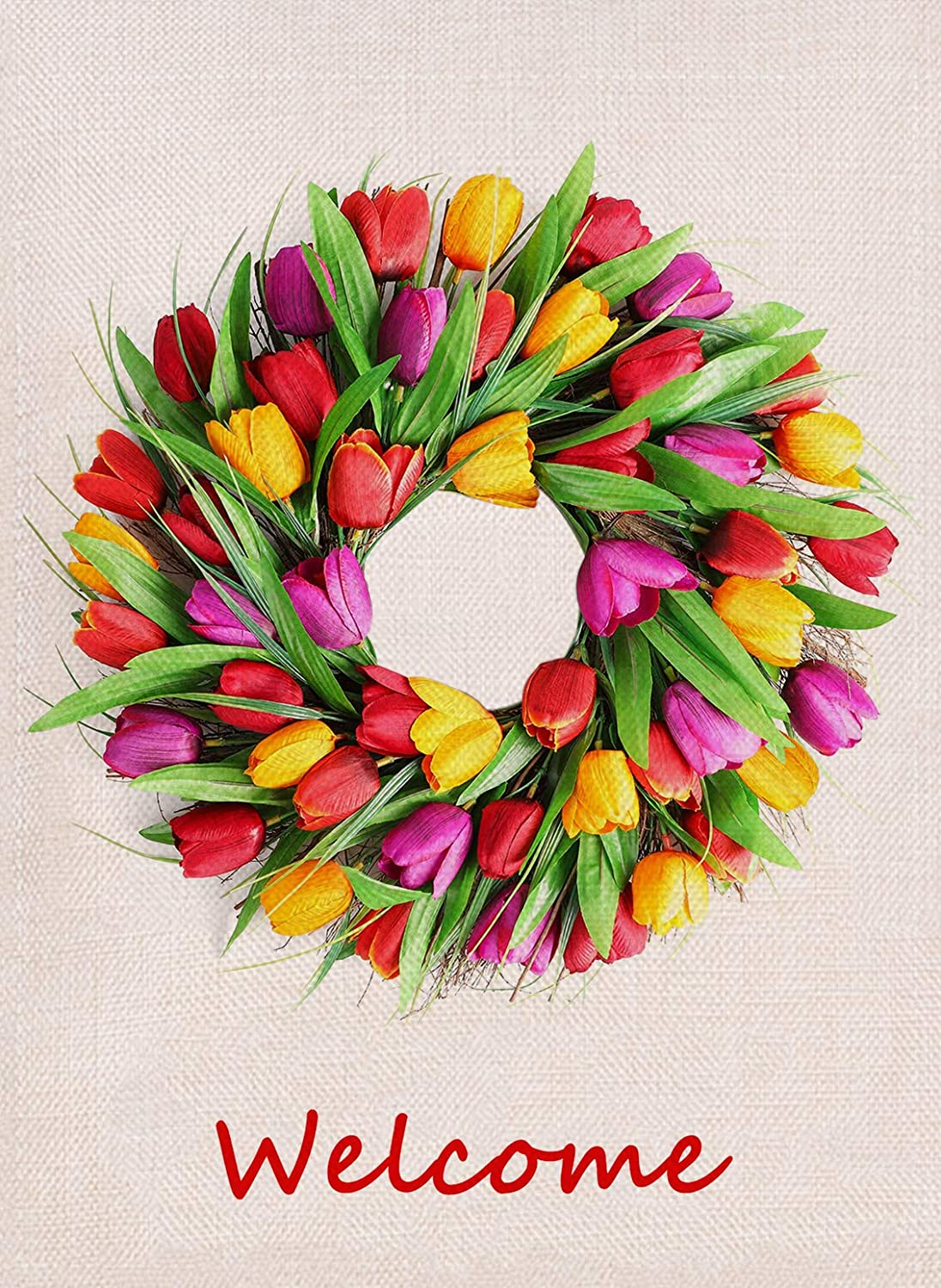 Furiaz Tulip Wreath Welcome Garden Flag, Spring Flower Wreath House Yard Outdoor Decorative Flag Floral, Rustic Burlap Farmhouse Summer Outside Decorations Garland Sign Home Decor Flag 12.5 x 18