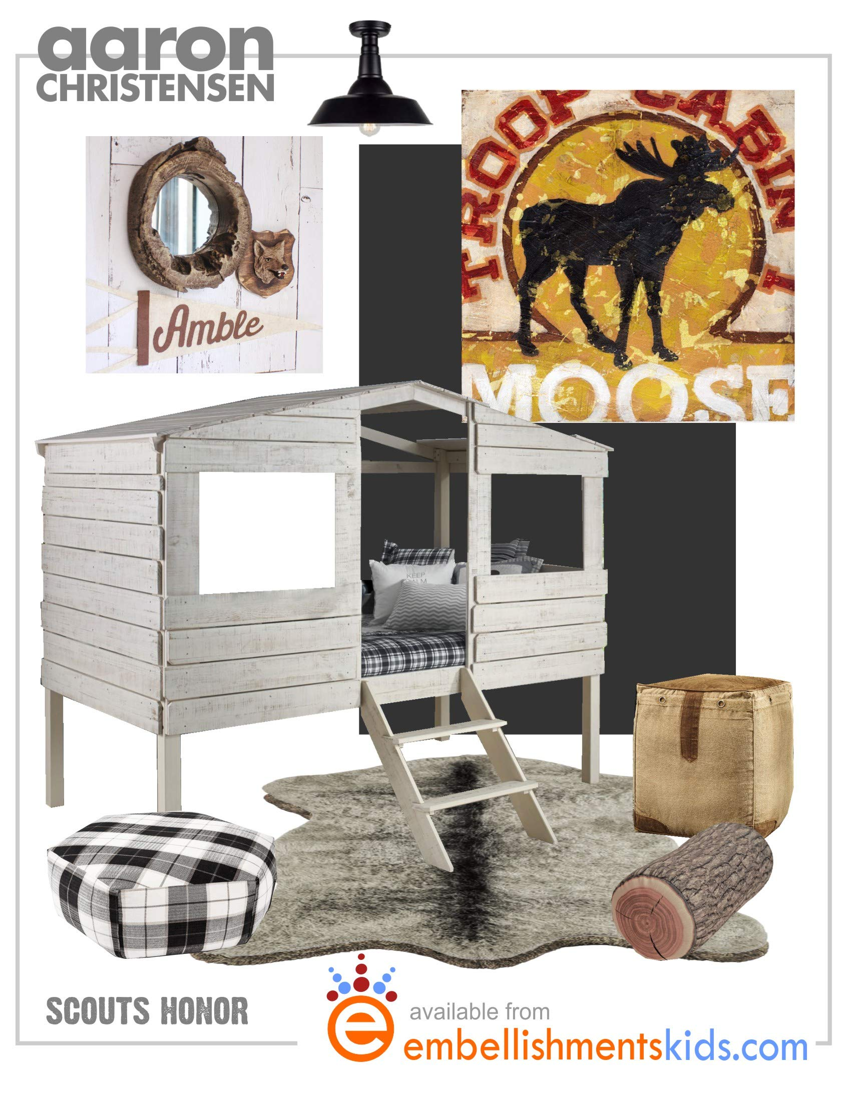 Moose Troop Cabin - Camping, Lodge, Scouting Wall Art Decor by Aaron Christensen Stretched Canvas Reproduction- Authentic Artist Direct. Multiple sizes listed. Made in my Portland, Oregon studio. by Aaron Christensen Embellishments Studio
