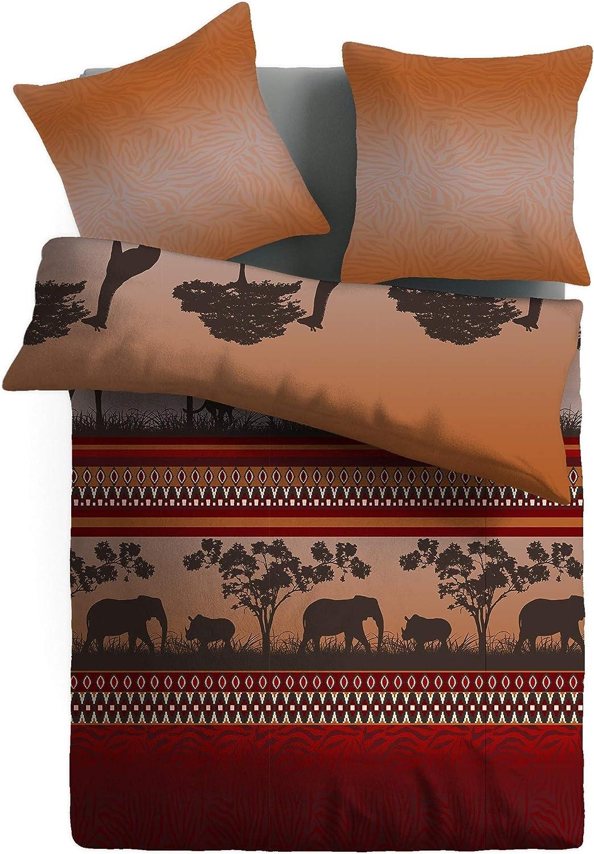 Housse de Couette 140x200 cm /& 1 Taie doreiller 50x75 cm SoulBedroom Afrique 100/% Coton Parure de lit