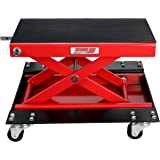 Extreme Max 5001.5059 Wide Motorcycle Scissor Jack with Dolly - 1100 lbs.