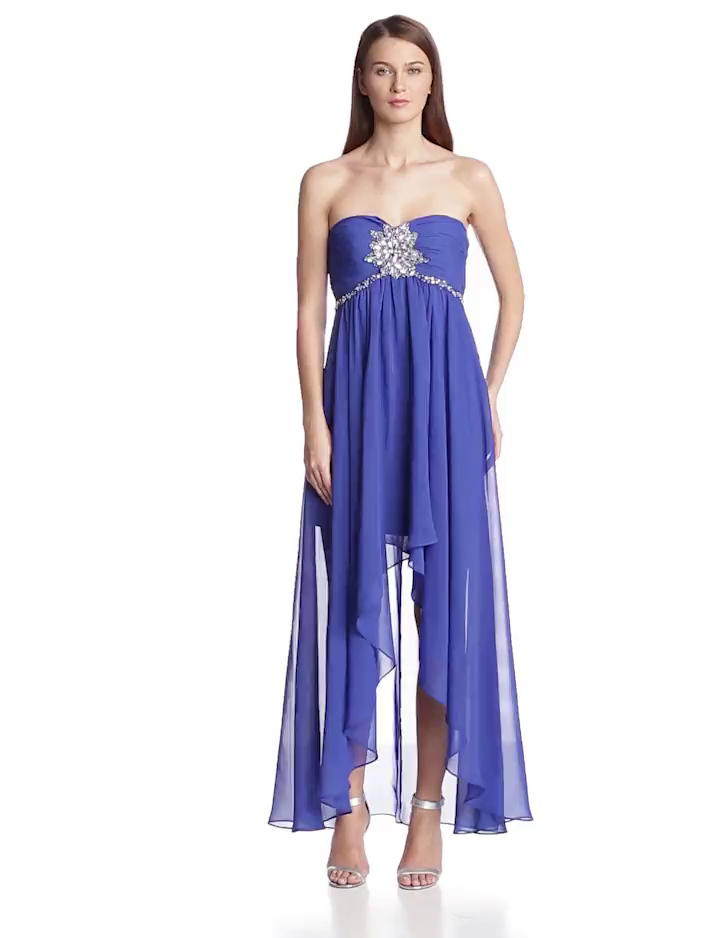 Hailey by Adrianna Papell Womens Strapless High/Low Gown