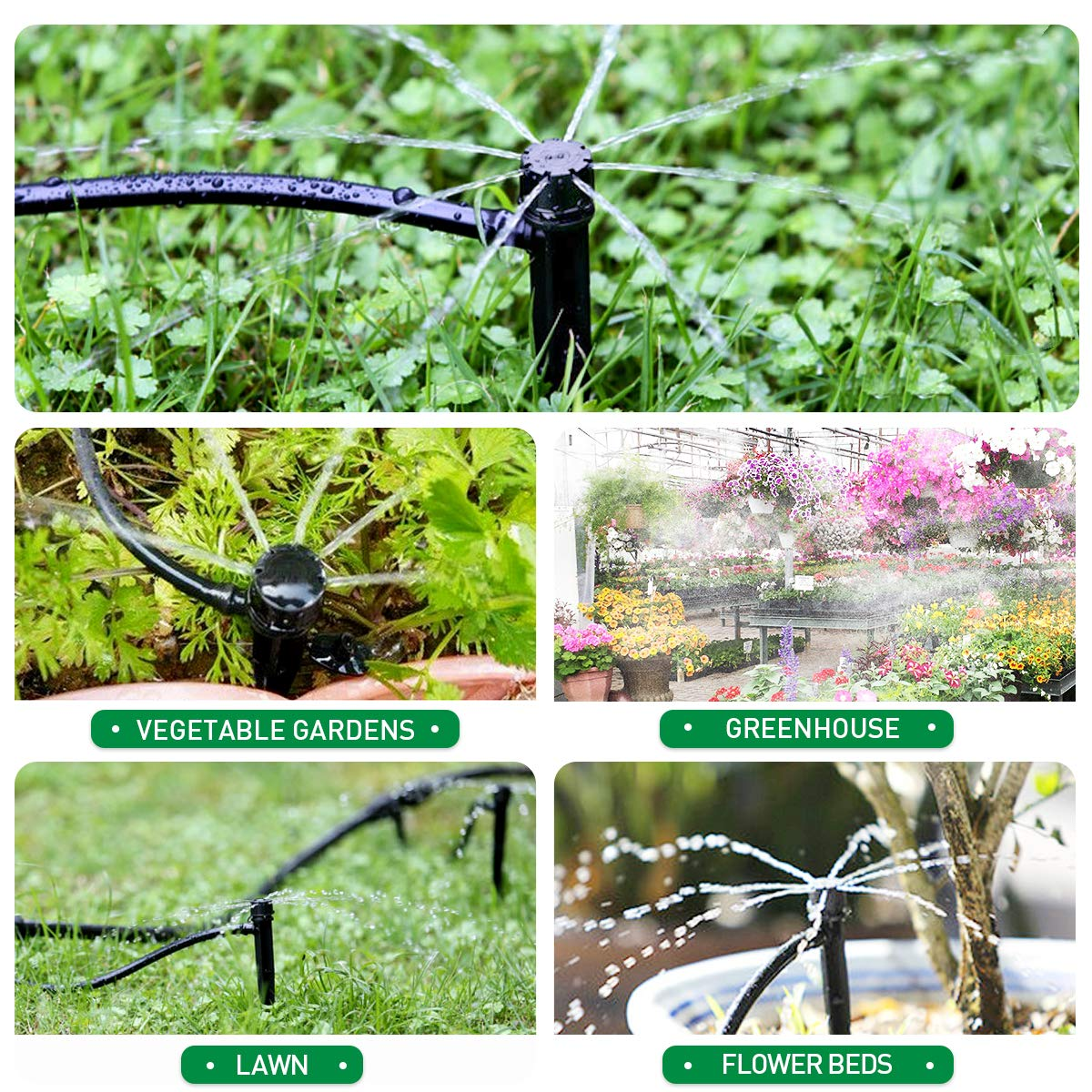 HIRALIY 50ft Drip Irrigation Kits 1//4 Blank Distribution Tubing Plant Watering System DIY Saving Water Automatic Irrigation Equipment Set for Patio Lawn Garden Greenhouse Flower Bed