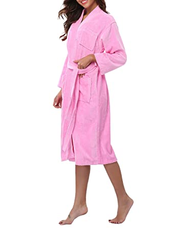 2291884b92 VOGMATE Women s 100% Turkish Cotton Long Kimono Bathrobe Terry Towelling  Solid Color Dressing Gown  Amazon.co.uk  Clothing