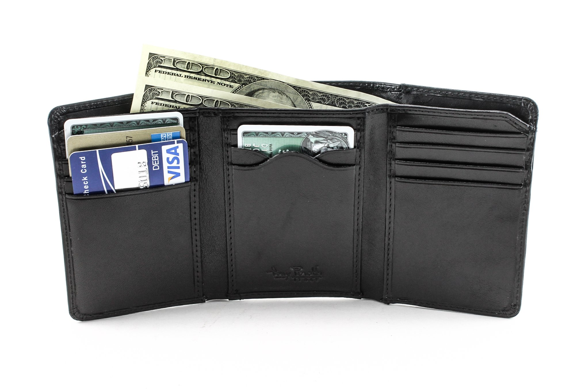 Luggage Depot USA, LLC Tony Perotti Italian Leather Classic Trifold Wallet with Id Window, Black
