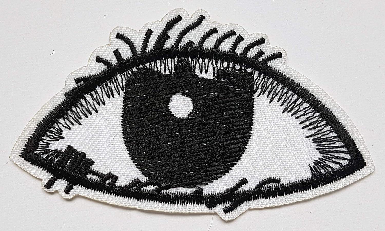 4,8x8,3cm Oeil Humain Stylis/é Noir Blanc Patch Eye Dessin R/éaliste Bande Dessin/ée BD /Écusson Tissus Thermocollant Cameleon-Shop