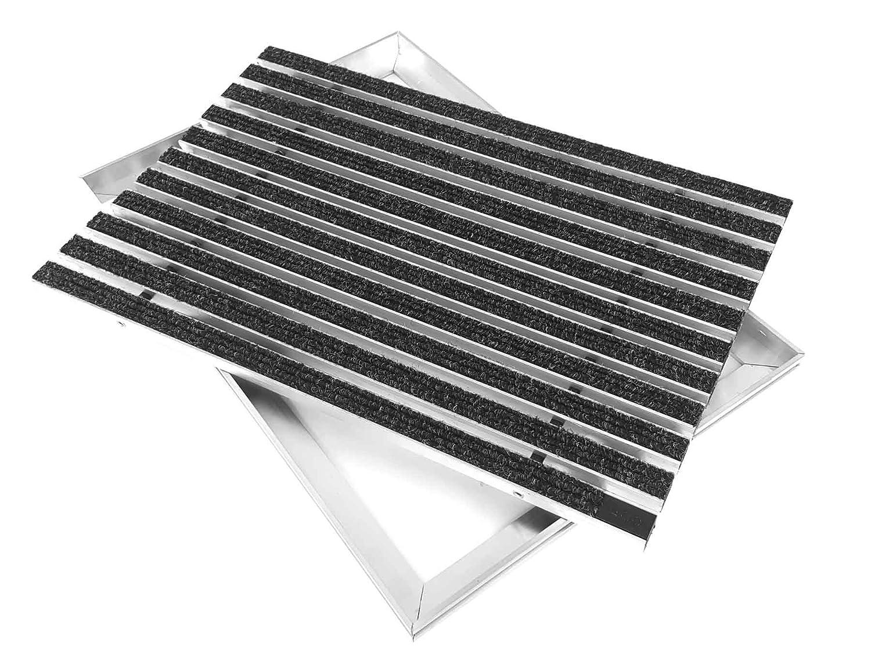 ACO Eingangsmatte Set 1000x500mm Rips anthrazit mit Winkelrahmen Aluminium