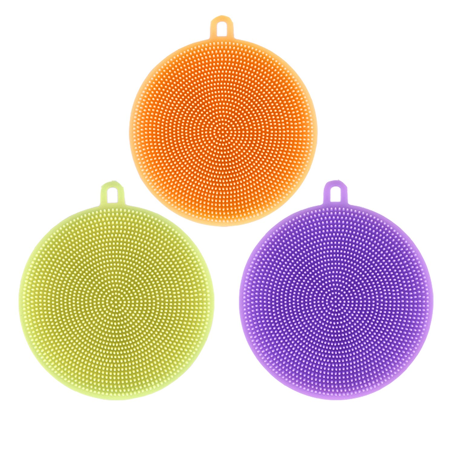 Accdata Silicone Sponges, Food-Grade Mildew-Free Silicone Dishwashing Scrubber for Washing Pot, Pan, Bowl, Fruit and Vegetables – 3Pcs