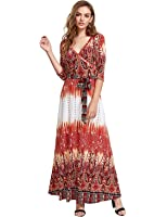 Milumia Women's Bohemian 3/4 Sleeve Faux Wrap Maxi Dress