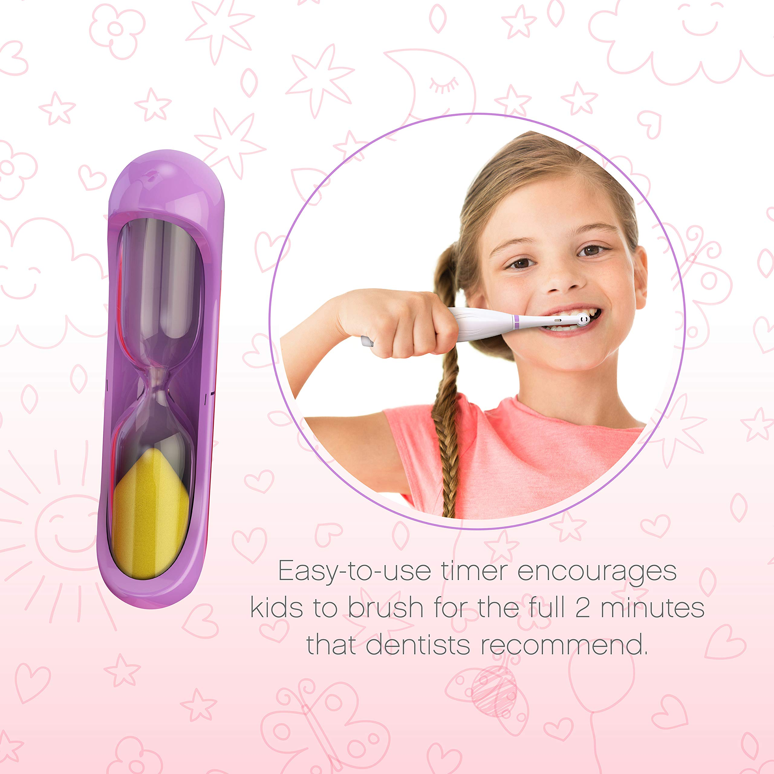Brusheez Kid's Electric Toothbrush Set - Sparkle the Unicorn - New & Improved with Softer Bristles, Easy-Press Power Button, 2 Brush Heads, Cute Animal Cover, Sand Timer, Rinse Cup & Storage Base by Brusheez (Image #3)
