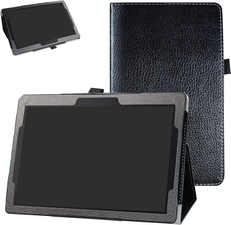 """Lenovo Tab E10 2018 Case,Bige PU Leather Folio 2-Folding Stand Cover for 10.1"""" Lenovo Tab E10 TB-X104F Tablet(2018),Black"""