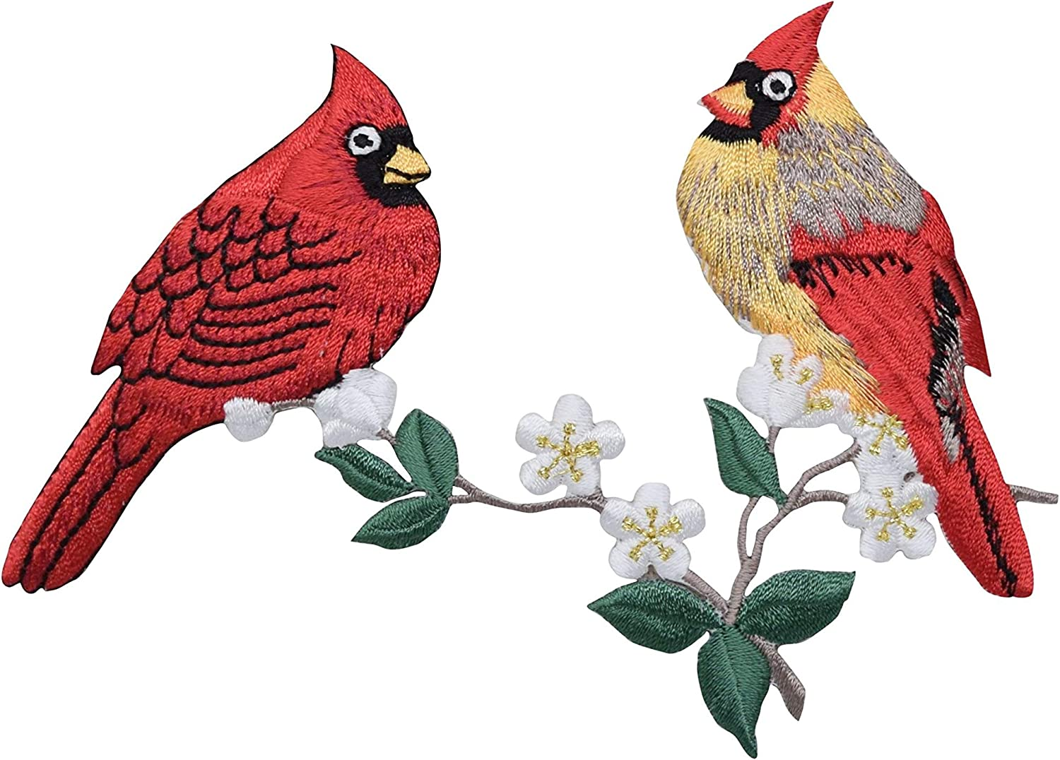Red Male Cardinal//Bird Facing Right Iron on Applique//Embroidered Patch