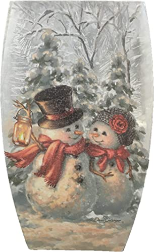 Stony Creek 8 Joyful Snowman Lighted Glass Vase DGH8275-A