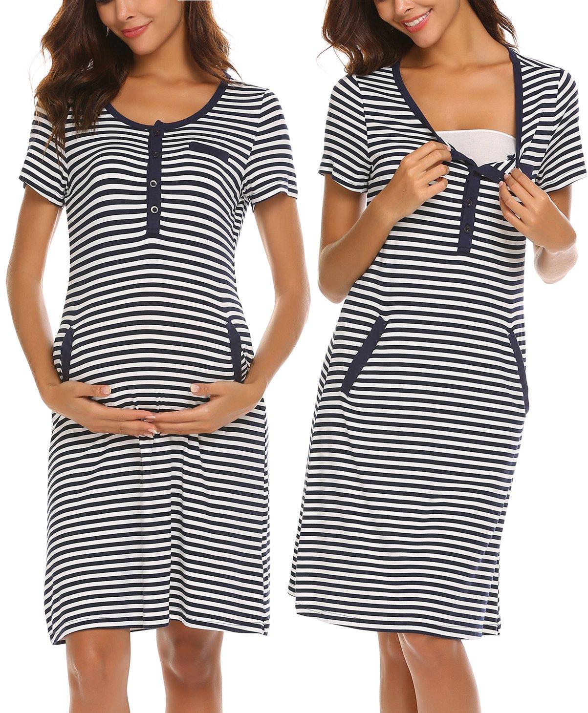 6a49dffc06150 Ekouaer 100% Cotton Maternity Sleepwear Nursing Dress Breastfeeding Night  Shirt Tops for Women