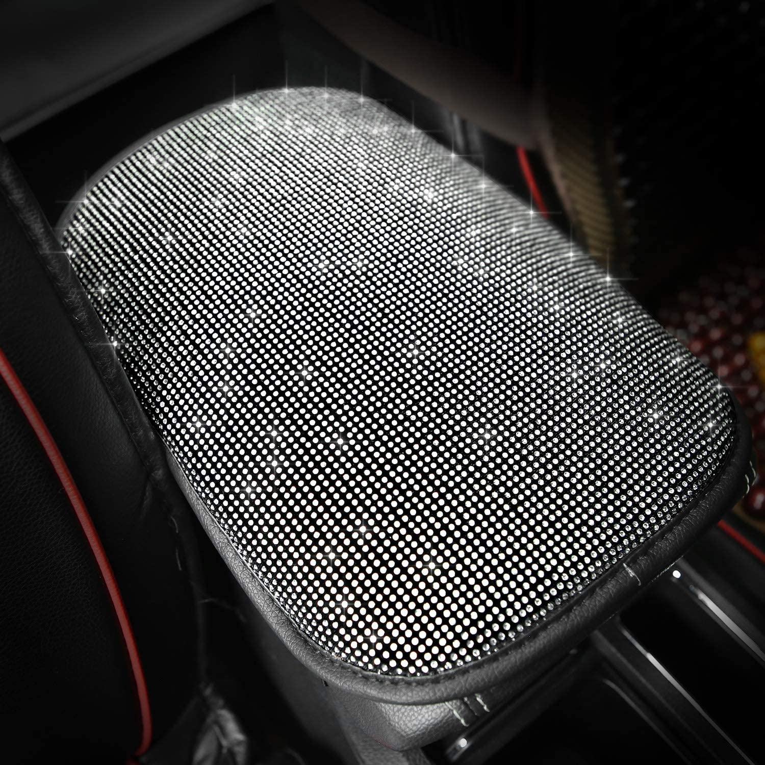 Bling-Colouful Waterproof Center Console Cover Armrest Protector for Most Vehicle SUV Truck Meserparts Bling Auto Center Console Pad Diamond Crystal PU Leather Universal Auto Armrest Cushion Pad