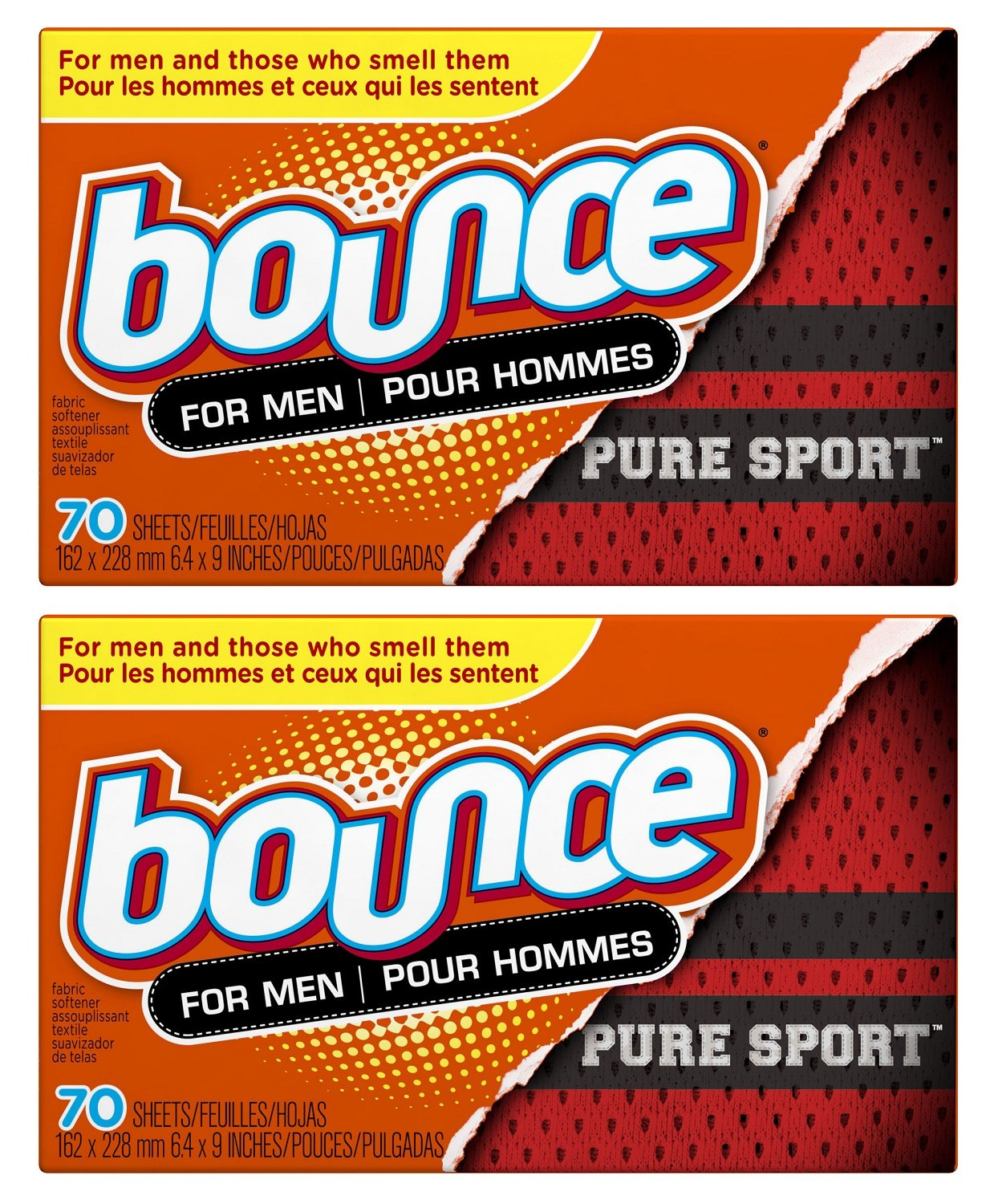 Bounce Pure Sport Dryer Sheets For Men, 70 Count (Pack of 2) Total 140 Sheets