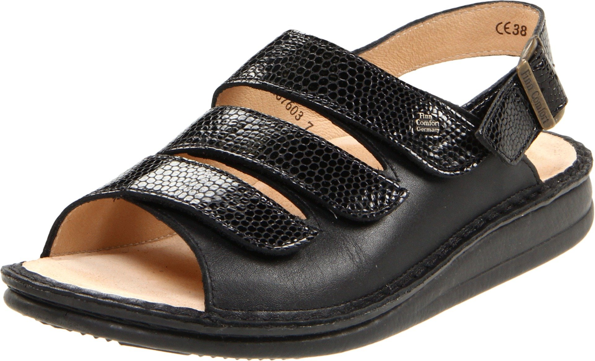 Finn Comfort Women's Sylt - 82509 Black/Snake Nappa Soft Footbed Sandal 41 (US Women's 10.5-11) Medium