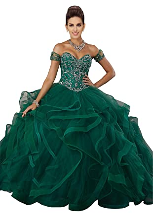 aa2926d4dd6 Off The Shoulder Ball Gowns Prom Dresses Quinceanera Beading Crystal  Sequins Graduation Dress Girls Emerald 2